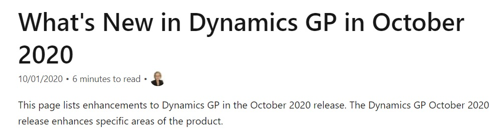 October 2020 #What's New in Dynamics GP in October 2020